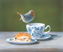 Wayne Westwood, Robin on a Teacup, Signed limited edition print