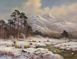Wendy Reeves, Original oil on canvas, Winter in the Scottish Highlands