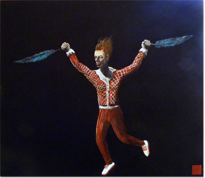 Will Teather, Original acrylic painting on board, Falling Icarus No frame image. Click to enlarge
