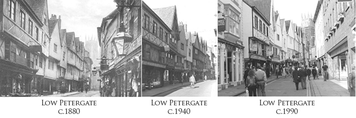 Low Petergate, York through the ages